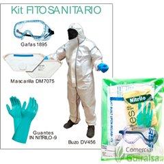 Contenido Kit Protección Fitosanitarios: 1 gafas, 1 mascarilla, 1 par de guantes y 1 buzo microporoso