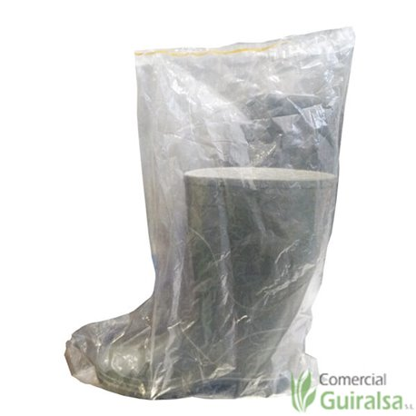 Bolsas desechables de plástico para botas de agua con goma. Paquete 50 uds
