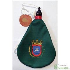 Bota de vino latex artesanal exterior tela estampado escudo de Huesca