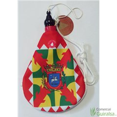 Bota de vino latex artesanal exterior tela estampado escudo y bandera de Huesca