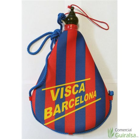 Bota de vino latex artesanal exterior tela estampado Visca Barcelona Fútbol