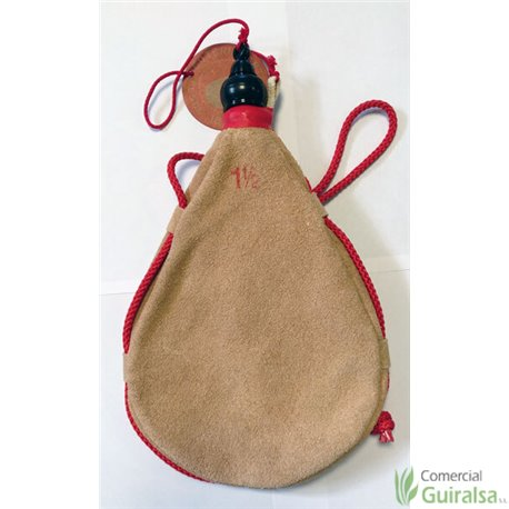 Botas de vino latex artesanal exterior serraje recta (piel de toro). Capacidad 1,5 litros
