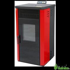 Estufa de Pellets 11 KW NBP15N con puerta doble color rojo Orework