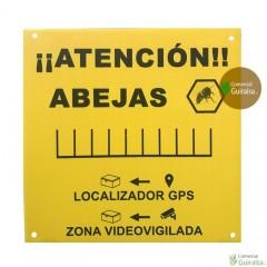 Cartel atención abejas PVC