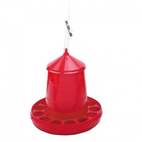 Comedero Tolva Plástica para Gallinas rojo sin patas y capacidad 2 kg