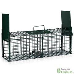 Jaula Trampa Plegable para captura de animales y de 2 puertas