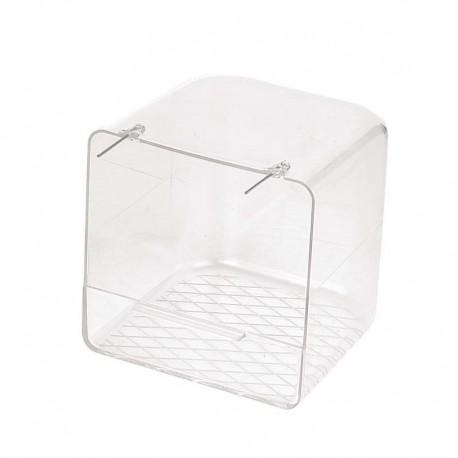 Bañera de plástico transparente para pájaros