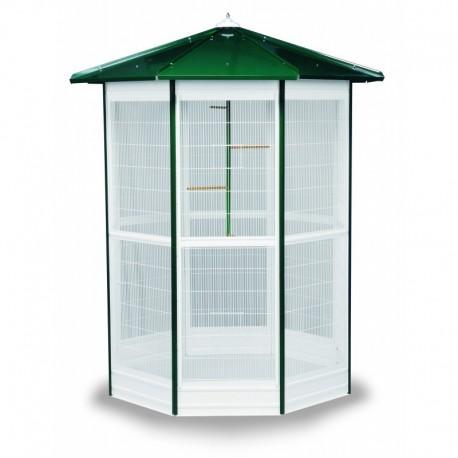 Pajarera Modular color verde y modelo 8 lados