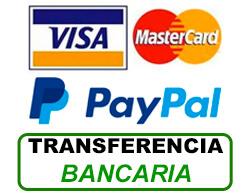 Tarjeta bancaria, PayPal o Transferencia bancaria