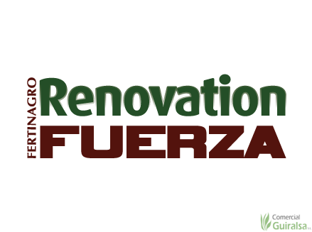 Logotipo del saco de abono renovation fuerza